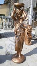"""Скульптура бетонная """"Девушка подиум"""" Золото"""