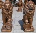 Скульптура из бетона Лев правый, левый Золото стоимость +30% к цене